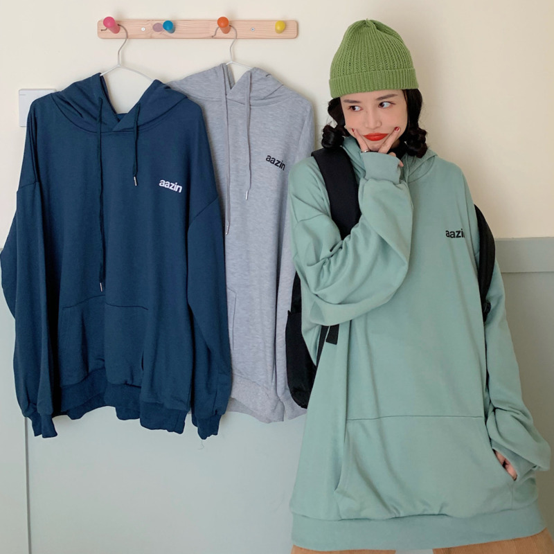 長袖帽T 186006秋季新款寬鬆韓版薄慵懶風長袖大學T