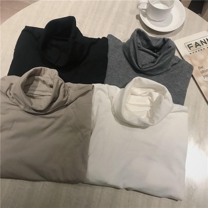 加绒高領打底衫女秋冬洋氣堆堆領內搭長袖上衣服百搭修身白色t恤ins潮