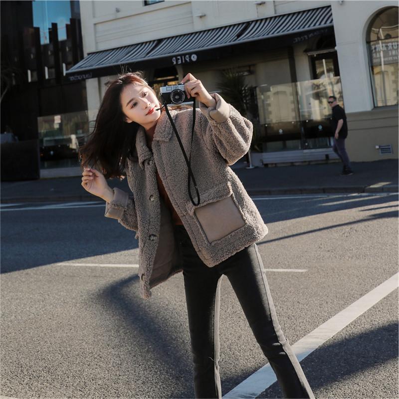 梨卡 - 羊羔毛皮絨外套短大衣 - 韓版寬鬆保暖防風加厚拼接機車風衣機車外套短款大衣FR018【現貨24H】