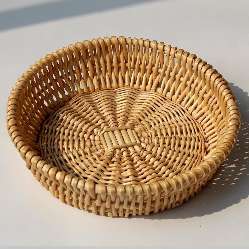 【現貨】【手工】藤編饅頭筐面包籃水果盤編織收納筐食品玩具收納家用餐桌廚房用品