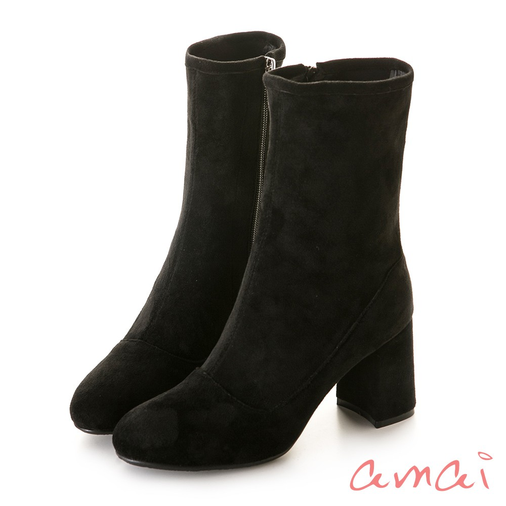 amai 細腿剪裁絨布拉鏈襪靴 黑 GW17-50BK