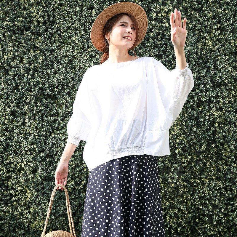 寬袖棉襯衫舒適的彈性前臂帶來簡約的外觀-白色