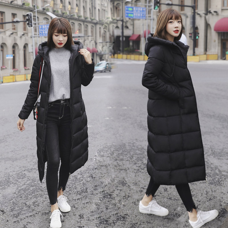 梨卡-秋冬季新款防風保暖長版過膝加厚羽絨棉外套-防風保暖長版加厚防風過膝修身羽絨棉外套AR172