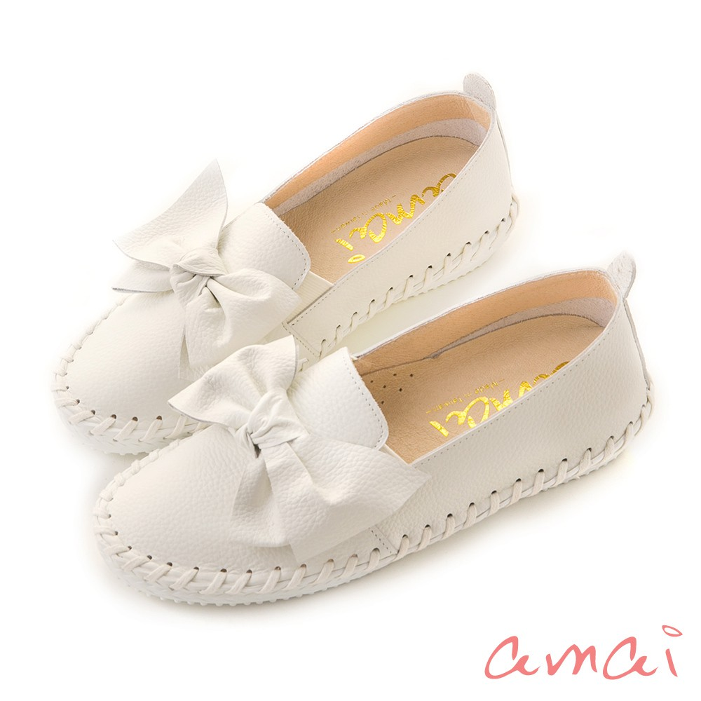 amai 《3M防水麂皮》MIT台灣製造。內增高樂福鞋 白 U-17WT