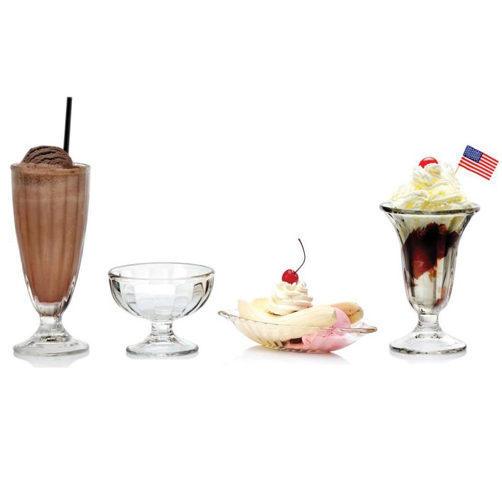 【Ocean】直紋杯系列-共4款《拾光玻璃》 香蕉船皿 蘇打杯 聖代杯 冰淇淋杯 玻璃杯 甜點杯