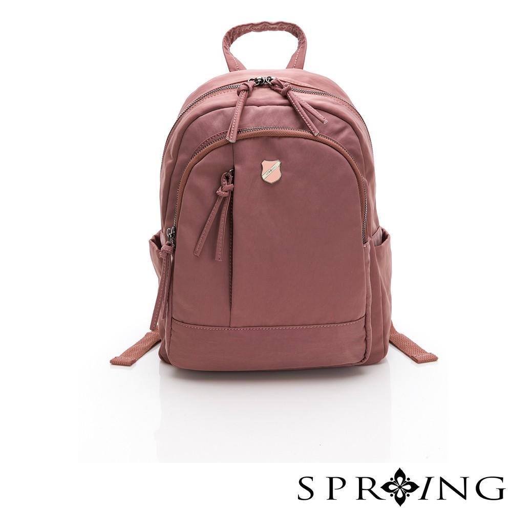 SPRING-復古質感系列天絲皺尼龍後背包A款-茱萸粉