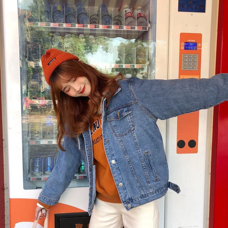 【HOT 本舖】韓版牛仔外套 連帽外套 帽子可拆卸 女生牛仔外套 簡約百搭 寬鬆顯瘦 韓版外套 長袖外套 秋冬新款