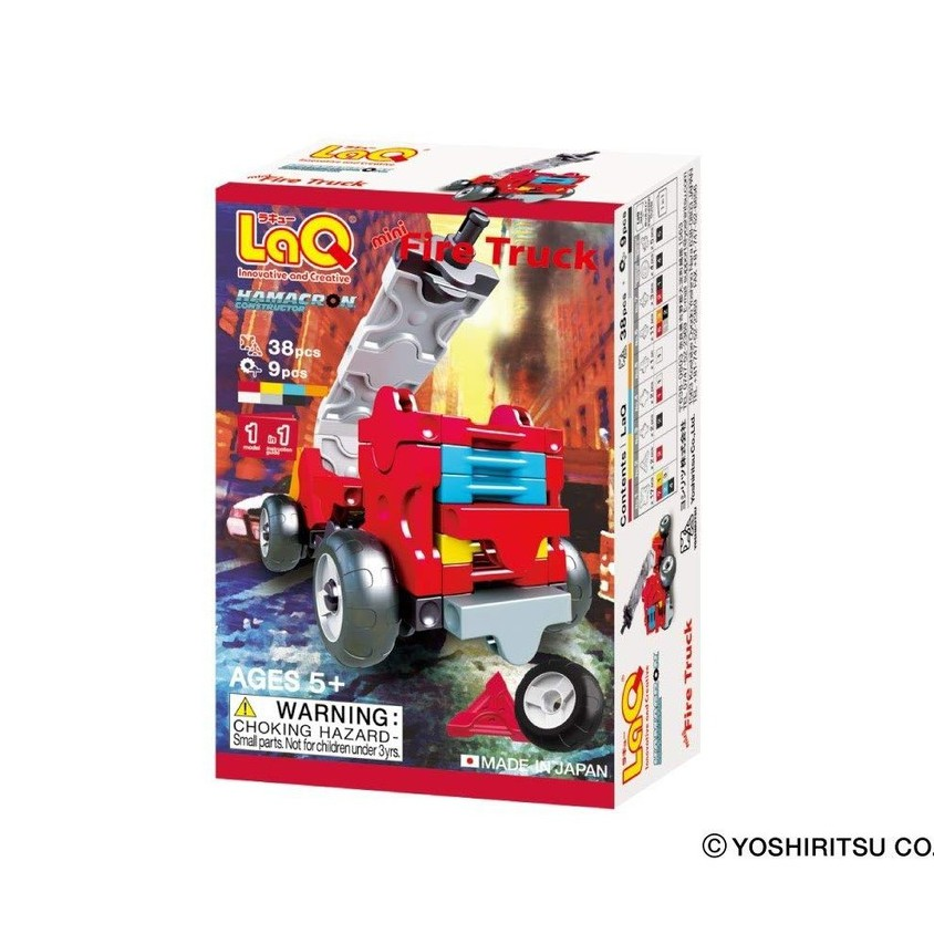 【LaQ】Q版消防車 (38pcs+9pcs) 日本製造立體3D拼接積木/益智玩具/台灣獨家代理