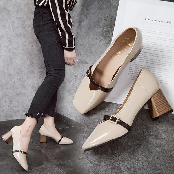 牛津鞋/紳士鞋 新款粗跟方頭復古豆豆鞋單鞋奶奶鞋英倫風百搭中跟淺口小皮鞋女鞋