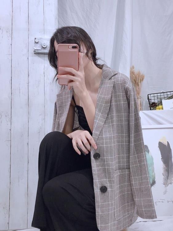 西裝外套 春夏2020潮韓版新款薄款chic西裝女寬鬆休閒格子復古西服外套學生  潮流居家 雙11