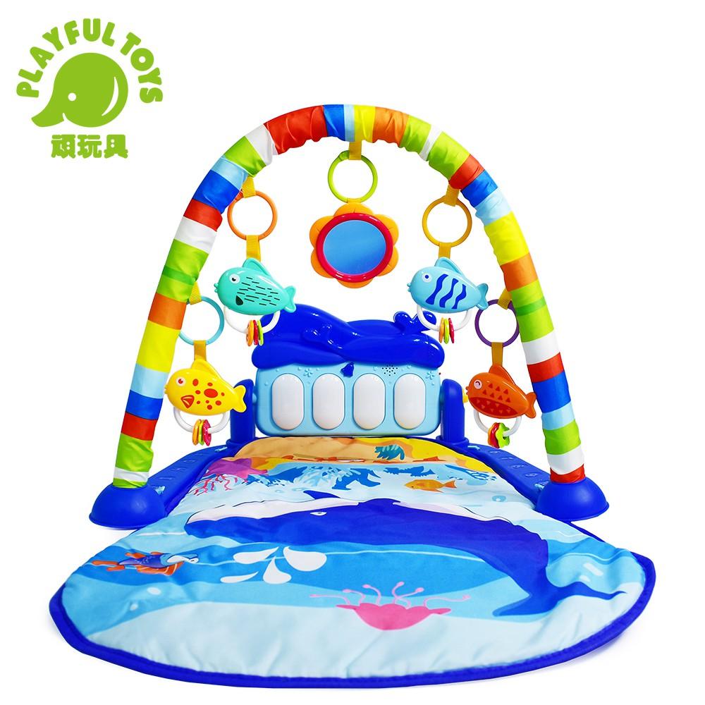 【Playful Toys 頑玩具】海豚音樂腳踏琴(健力架 嬰幼兒 知識早教 益智互動 聲光玩具 寶寶音樂)
