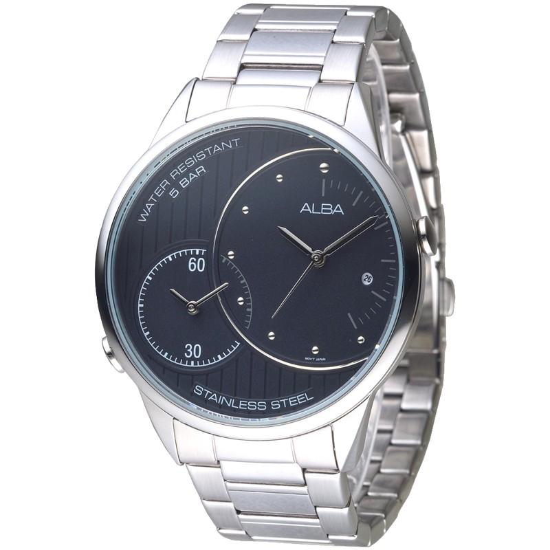 ALBA雅柏 手錶 AZ9005X1 簍刻直紋兩地時間男錶-黑 廠商直送 現貨