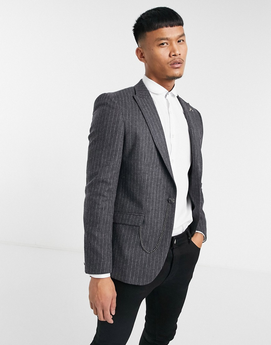 Shelby & Sons slim fit suit jacket with chain in charcoal stripe-Grey