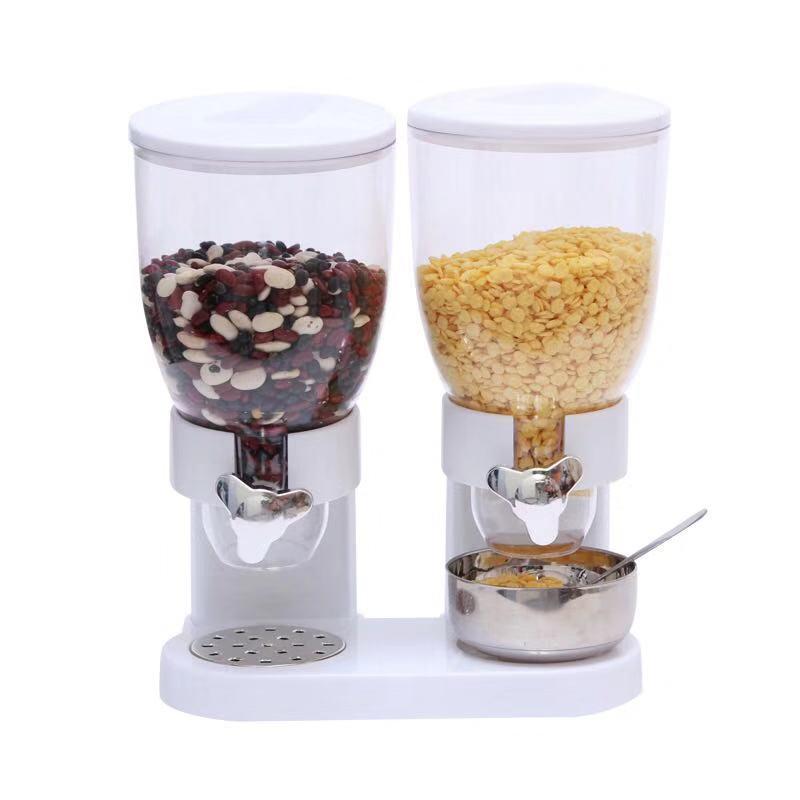 麥片機 燕麥片收納桶  儲物罐  早餐 自助早餐 穀類麥片桶 麥片機 食品罐 穀物雜糧分配器 雙桶 燕麥機