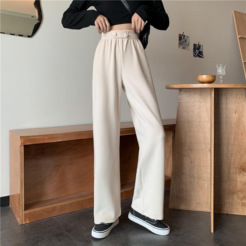 休閒 針織長褲 直筒褲 寬褲 加厚 女生長褲 休閒 素色 高腰 自案首 垂墜感 直筒 加厚 針織 長褲