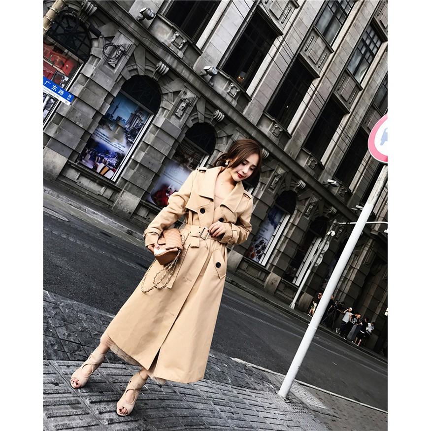 NO.9 韓版 氣質 性感 時尚 名媛 顯瘦 收腰 過膝 長外套 排扣風衣 風衣 綁帶 防風 唯美