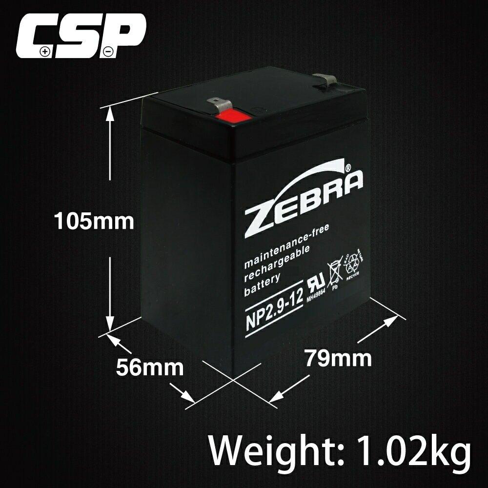 【CSP】NP2.9-12 (12V2.9AH) /密閉式鉛酸電池/鉛酸電池/緊急照明/釣魚燈具/手電筒/攝影器材