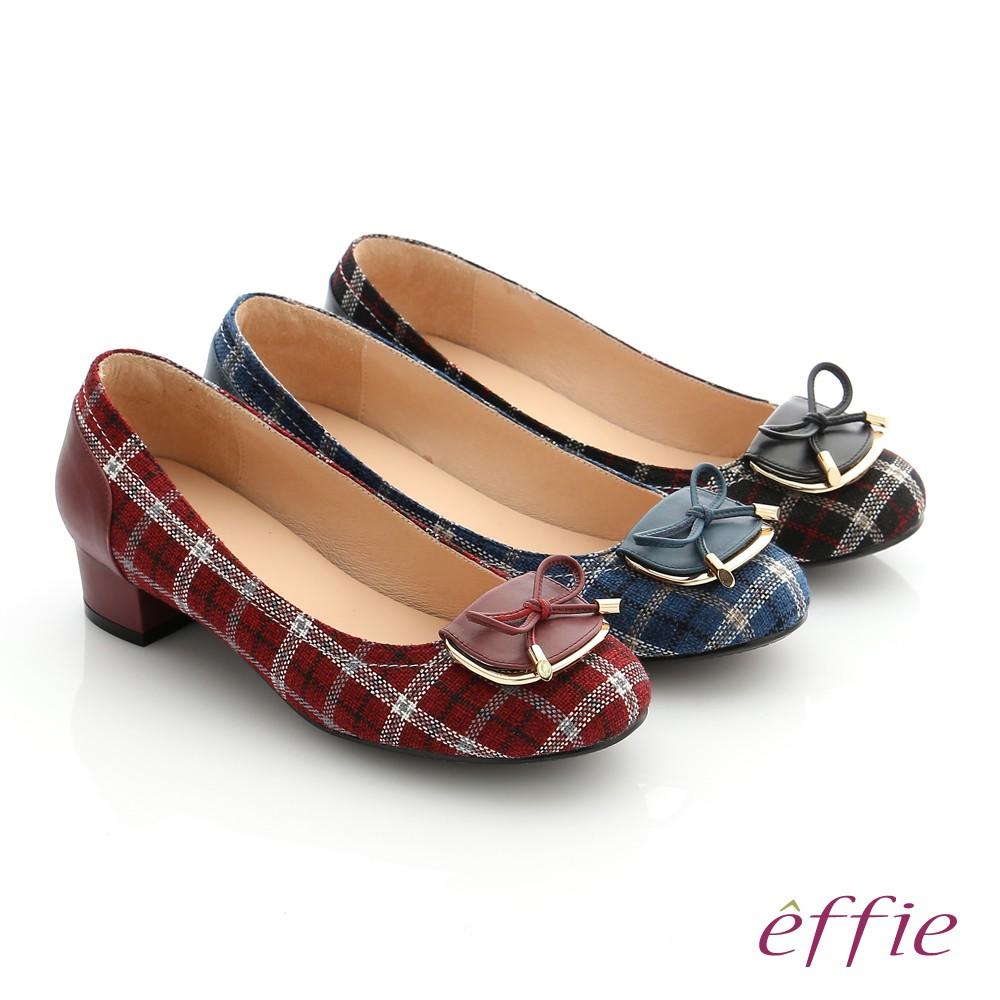 【A.S.O阿瘦】個性美型 真皮蝴蝶結飾釦格紋低跟鞋-黑/深藍/暗紅