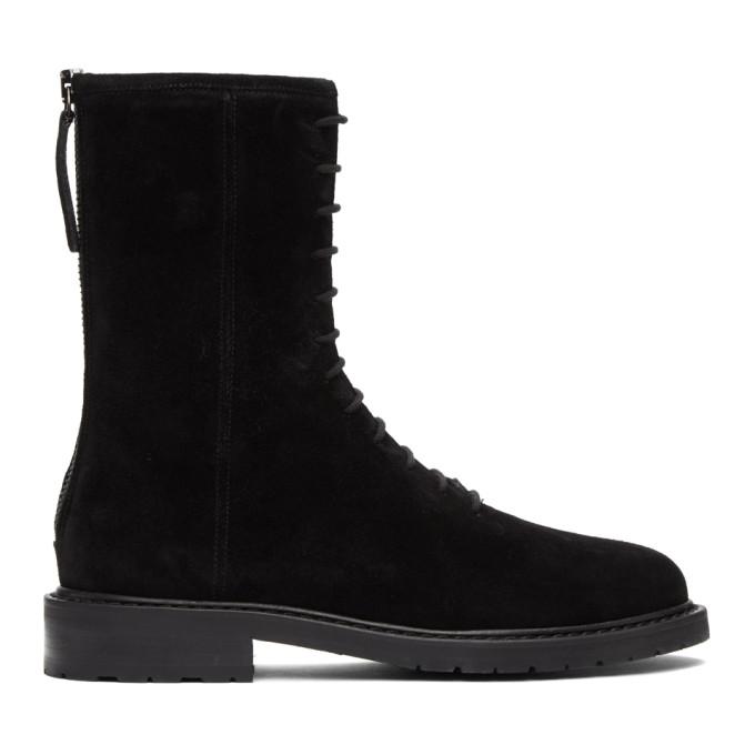 Legres 黑色绒面革军风踝靴