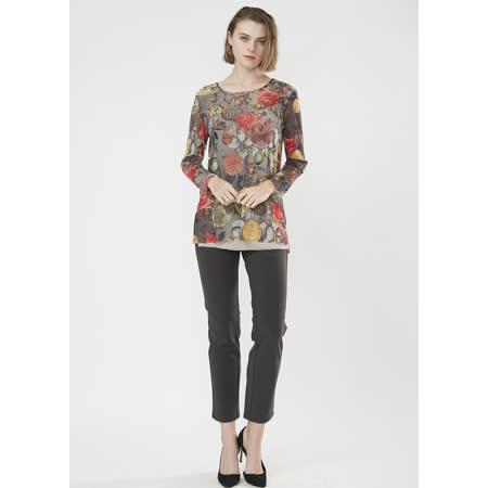 YH 盈樺 歐式古典風格圖案印花彈性上衣
