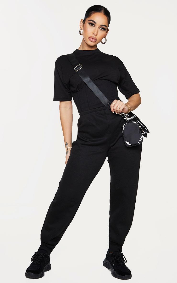 Shape Black Corset Detail Short Sleeve Sweat Jumpsuit