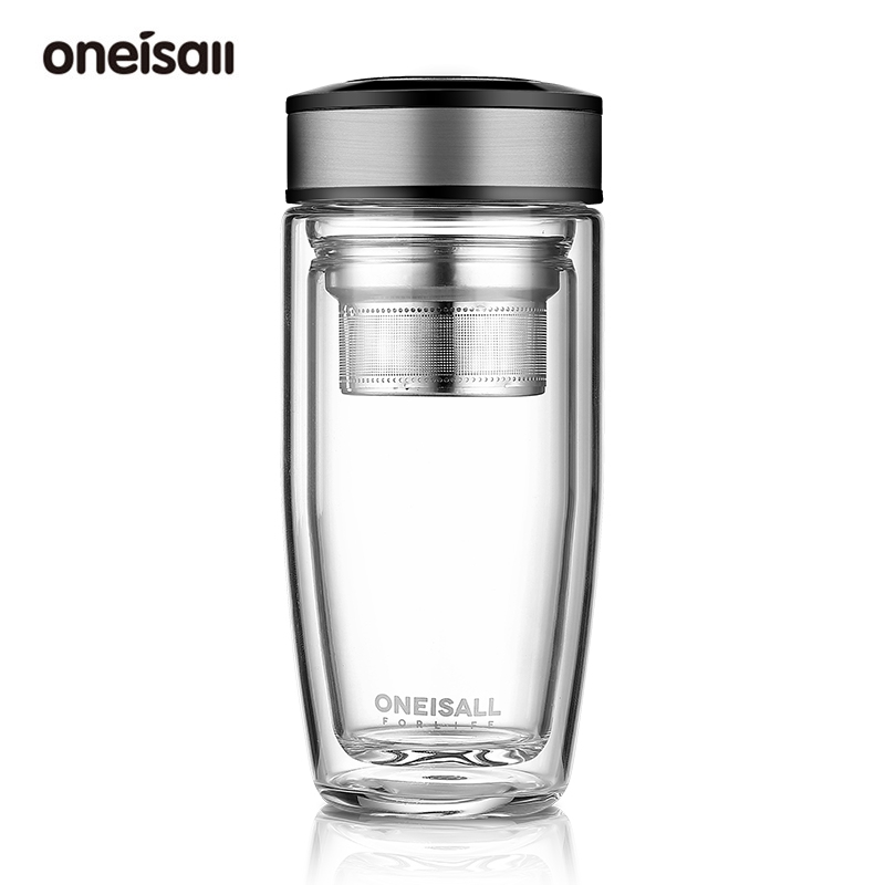 ONEISALL 雙層玻璃杯 380ml 耐熱辦公杯帶茶隔 防爆防燙帶杯套 商務風