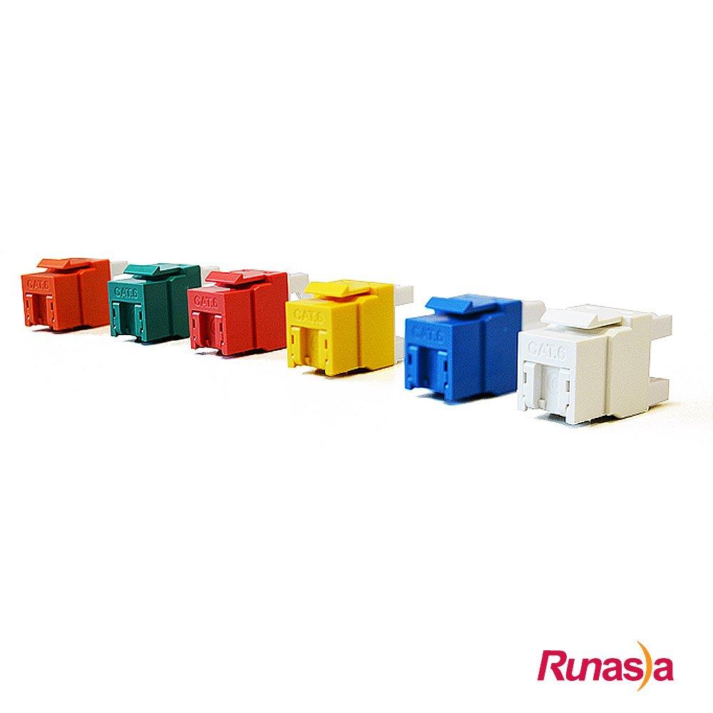 Runasia 六類(Cat.6)無遮蔽資訊插座 - 內推式 (12入)