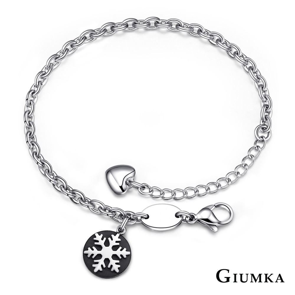 GIUMKA鈦鋼手鍊刻字女生手鏈 雪花 聖誕節生日紀念日兒童節送禮推薦 單個價格MH04084