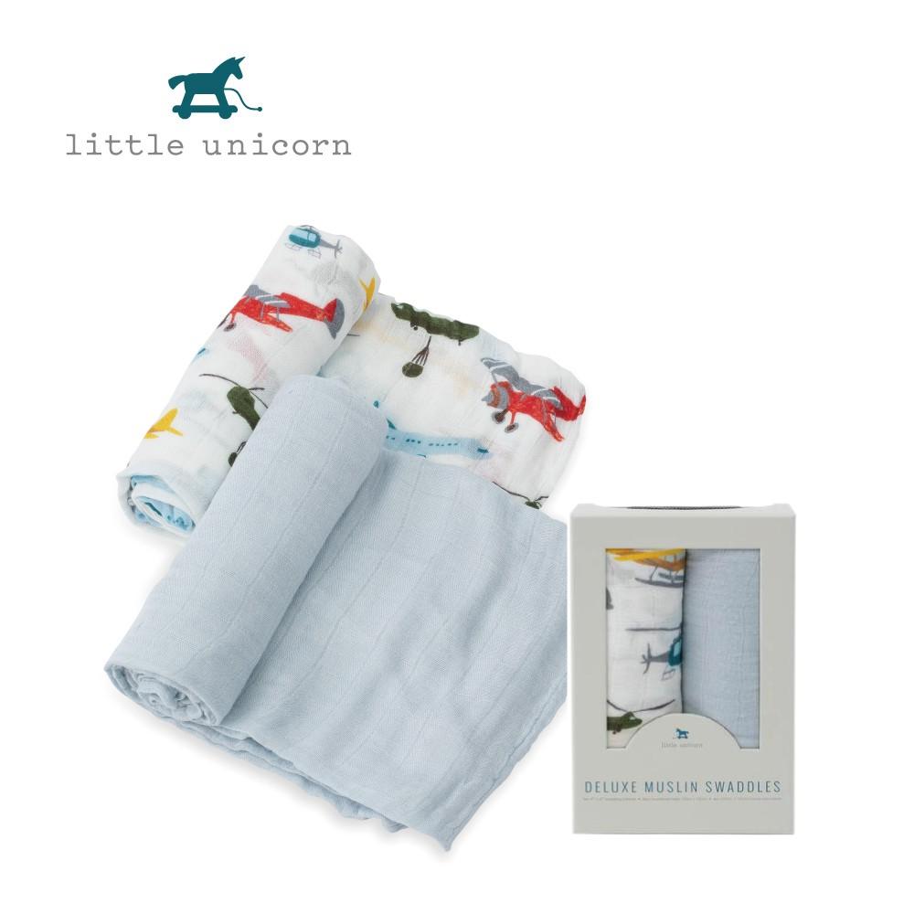 美國Little Unicorn 竹纖維紗布巾兩入組 包巾 飛機總動員