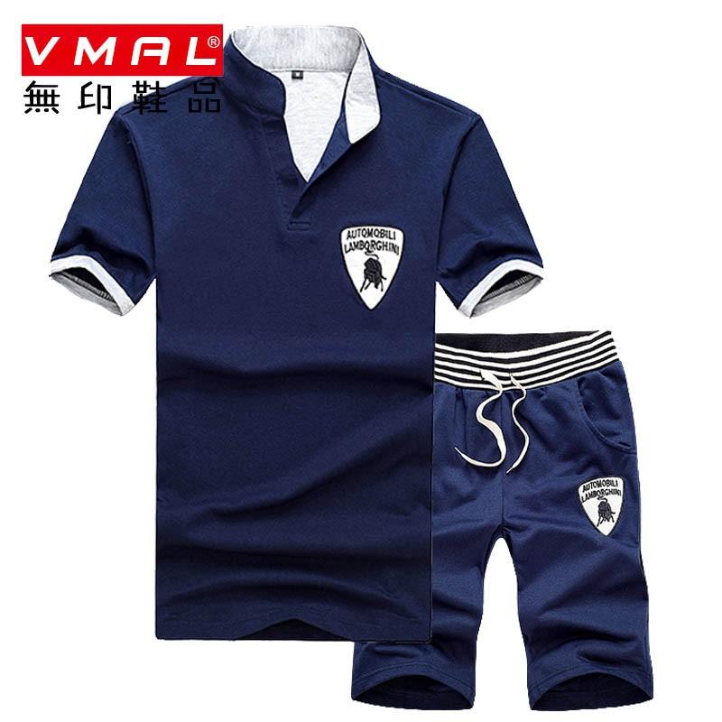 M-4XL 夏季短袖套裝 男休閒套裝 潮牌t恤 運動套裝 運動上衣 短袖Polo衫套裝 兩件式男套裝 五分短褲子 短T