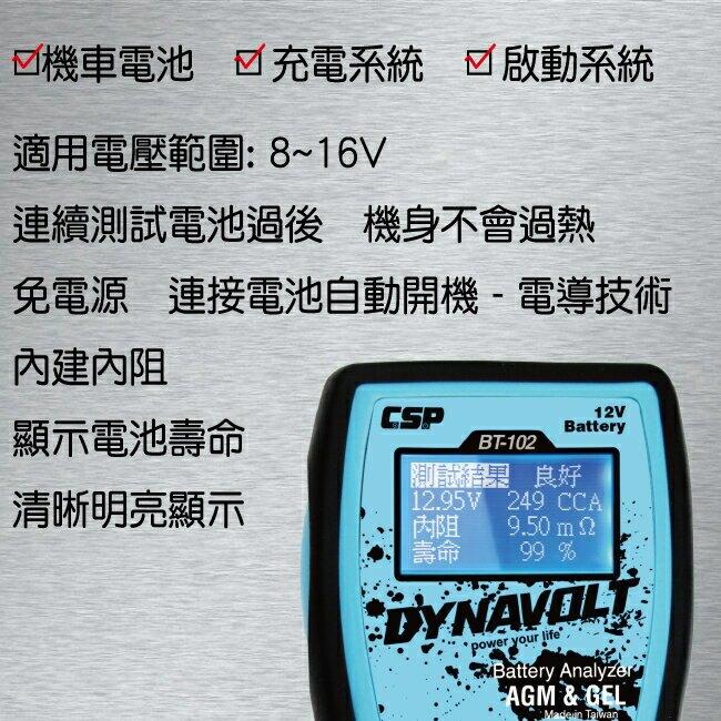 BT102機車專用檢測器12V/電池檢測器 電池檢測儀 機車電池測試器 電池電量檢測器 電池CCA檢測儀