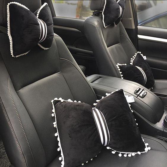 車載枕頭 汽車抱枕座椅頭枕護頸枕四季蝴蝶結枕車用車載枕頭車飾可愛護頸枕