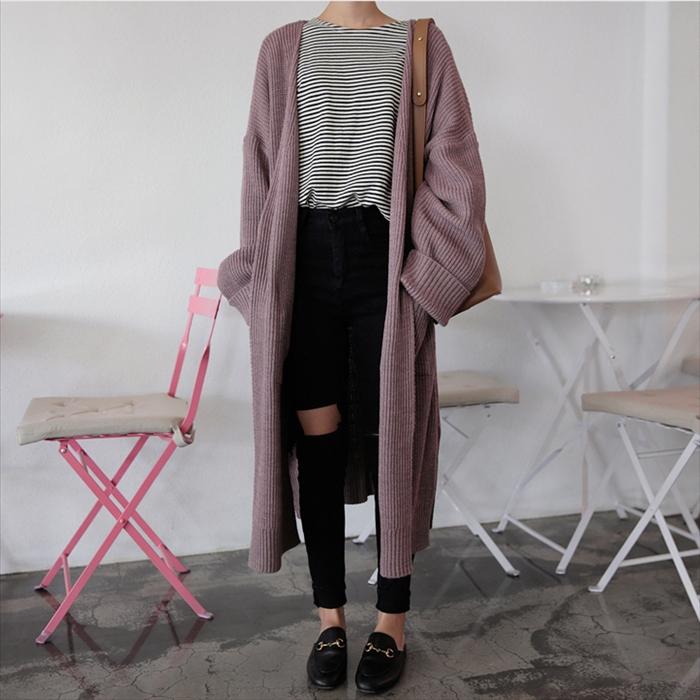 針織外套 開衫 中長款外套 大衣 毛衣 秋裝韓國chic中長款長袖針織衫毛衣外套開衫女