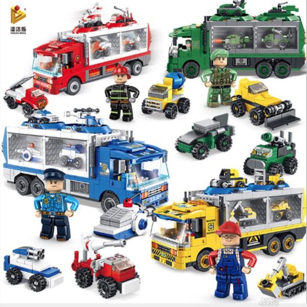 是明 潘洛斯 6合1積木收納變形車系列(消防/軍事/工程/警察) 共4款 / 聖誕節禮物 /生日禮物/ 兒童節禮物