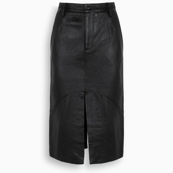 REMAIN Birger Christensen Black leather Bocca skirt