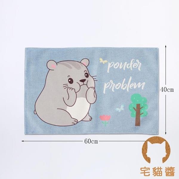 卡通動物餐桌墊餐布可折疊收納袋棉麻防滑隔熱墊【宅貓醬】