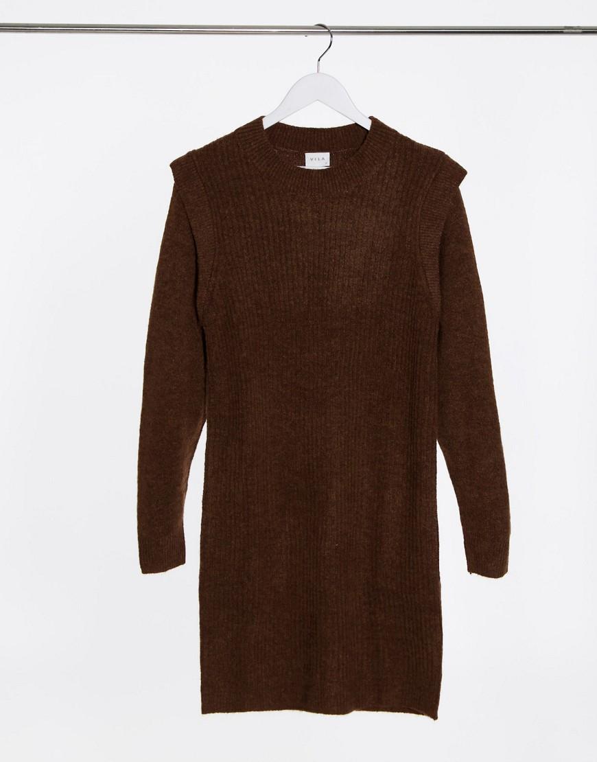 Vila knitted jumper dress with shoulder detail in brown