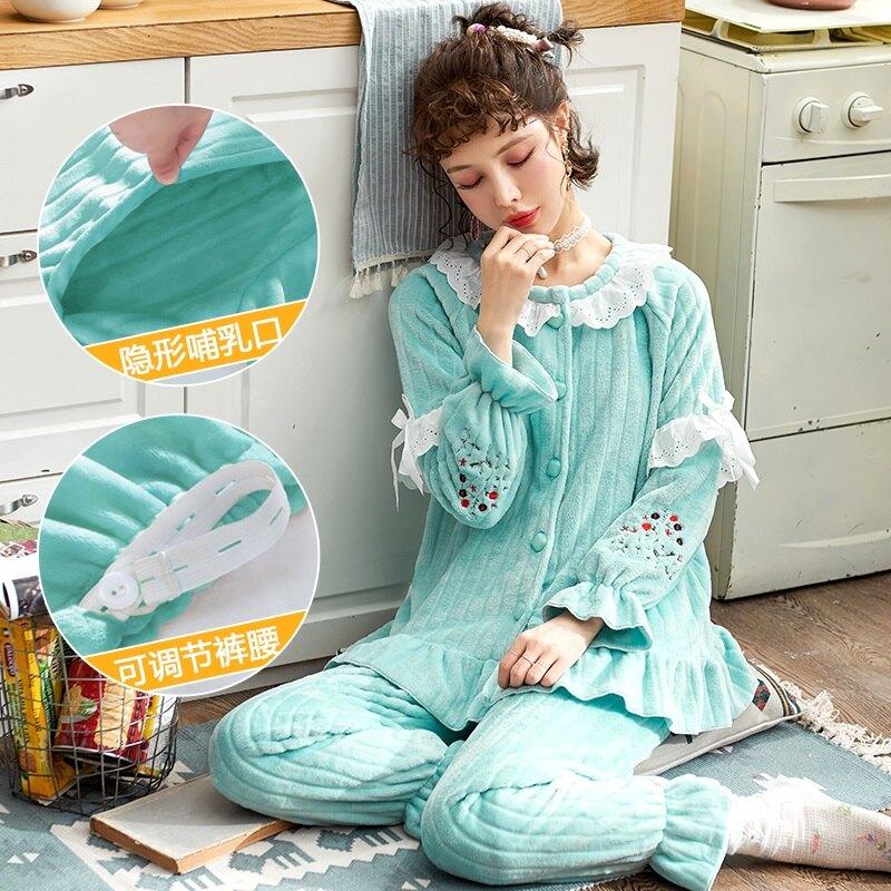 月子服孕婦睡衣女秋冬季加厚加絨保暖法蘭絨產後珊瑚絨月子服哺乳套裝
