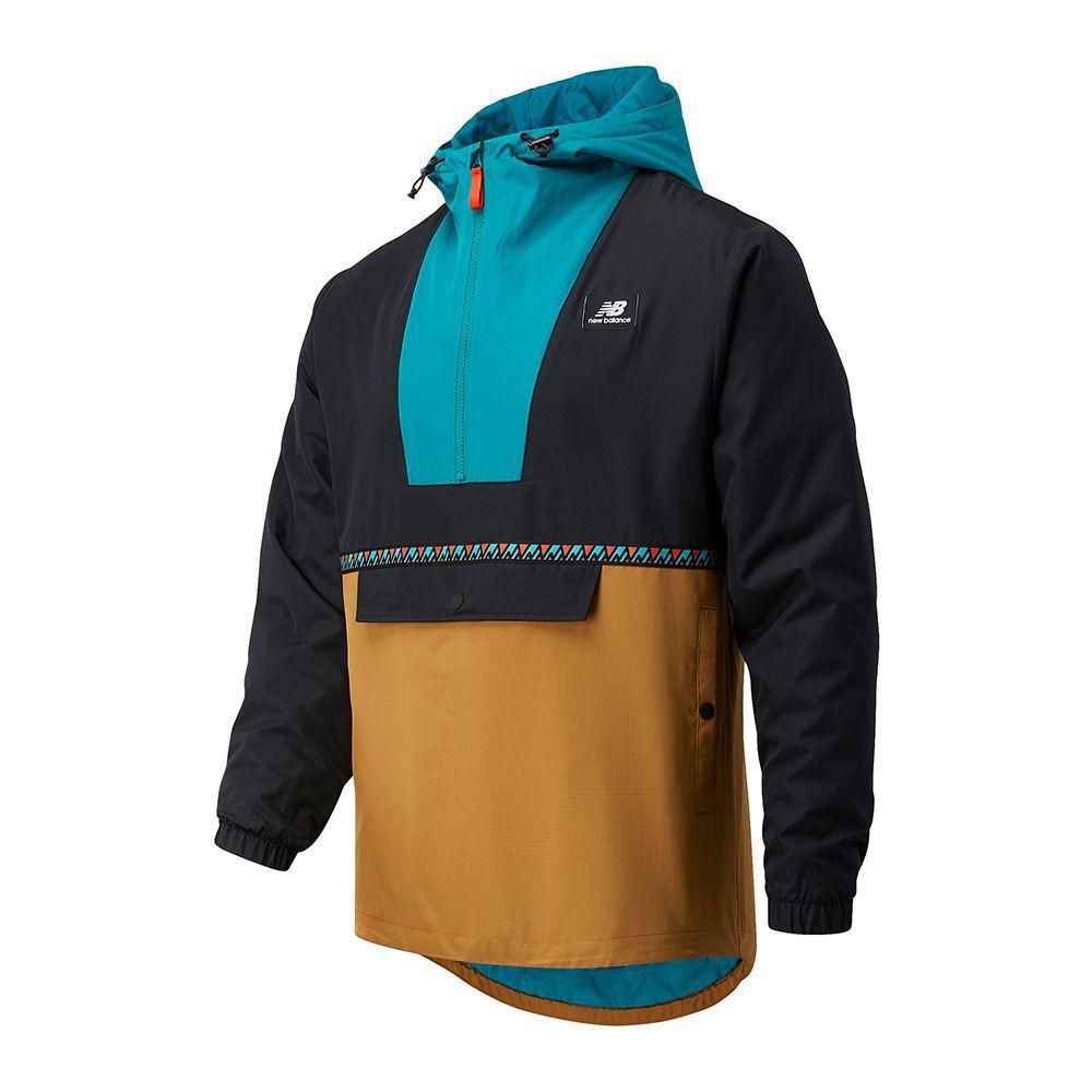 New Balance 男裝 長袖 連帽 慢跑 半開襟 按扣口袋 拉繩 黑 咖啡 藍【運動世界】MJ03560WWK