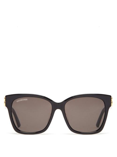 Balenciaga - Bb-logo Square Acetate Sunglasses - Womens - Black Grey