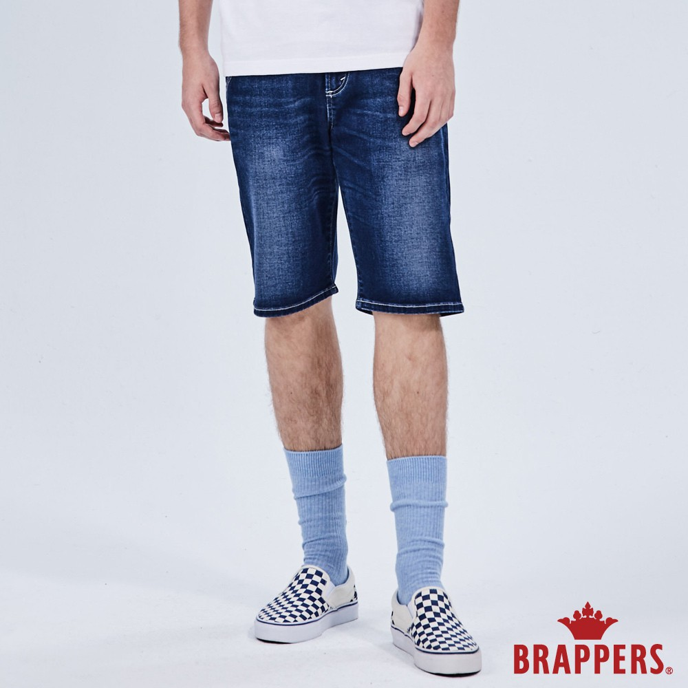 BRAPPERS 男款 HM-中腰系列-彈性五分褲-藍