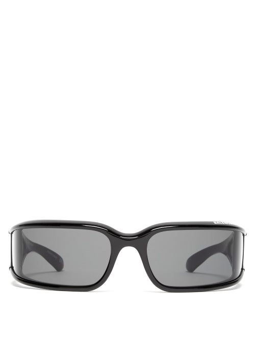 Balenciaga - Logo-print Mask Acetate Sunglasses - Womens - Black Grey