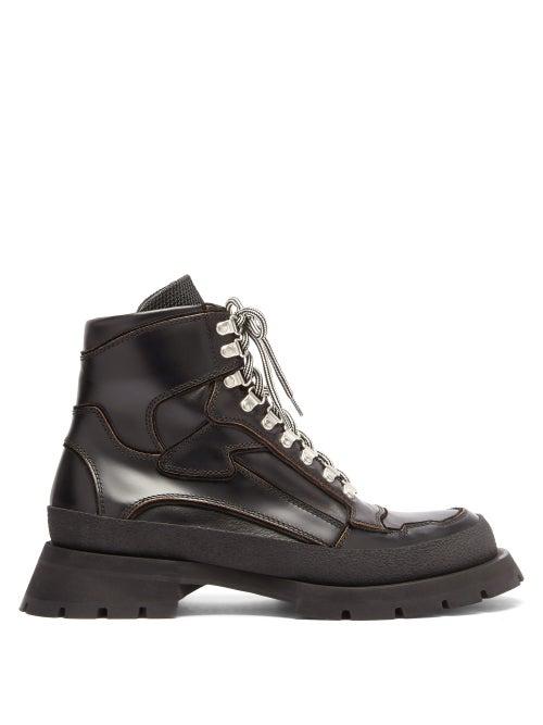 Jil Sander - Lace-up Leather Boots - Mens - Black