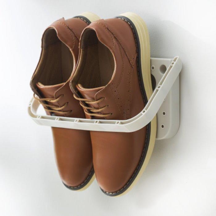 強力魔力貼-折疊鞋架 黏貼式牆壁鞋架 壁面拖鞋架 摺疊收納架 鞋掛【GL325】◎123便利屋◎