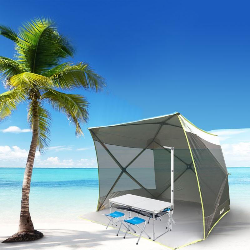 【RV運動家族】多用途休閒帳組合(休閒帳+4人用桌椅組) 沙灘 野餐 草地