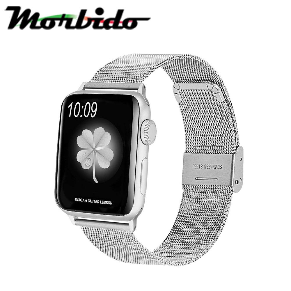 Morbido蒙彼多 Apple Watch 40mm不鏽鋼編織卡扣式錶帶 銀