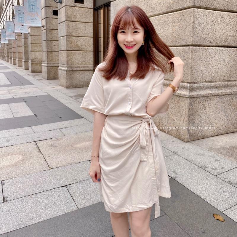 法式下午茶綁帶洋裝(杏色)