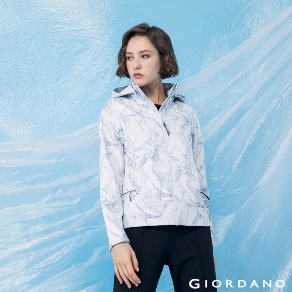 GIORDANO  女裝高機能可拆式連帽外套-19 白/灰