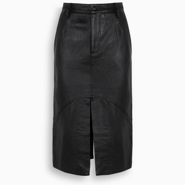 REMAIN Birger Christensen Black leather Bocca skirt
