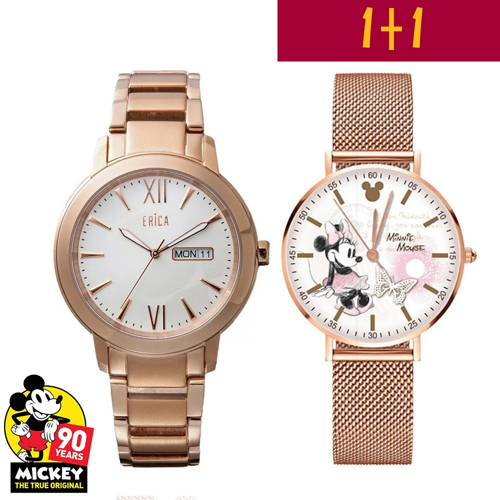 【1+1期間限定】ERICA X MICKEY MOUSE 90S 1+1玫瑰粉紅金不鏽鋼玫瑰金腕錶ER-17-GLW